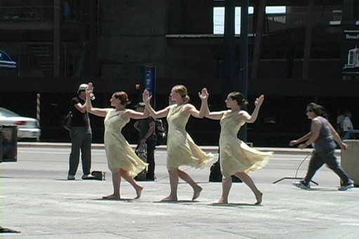 Urban Muses. A still from dance for the Camera by Alison D. Smith. Dancers: Jessica Curiel, Sadie Weinberg, and Vanessa Tipon