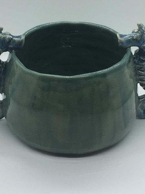 Teal Seahorse Slurping Bowl