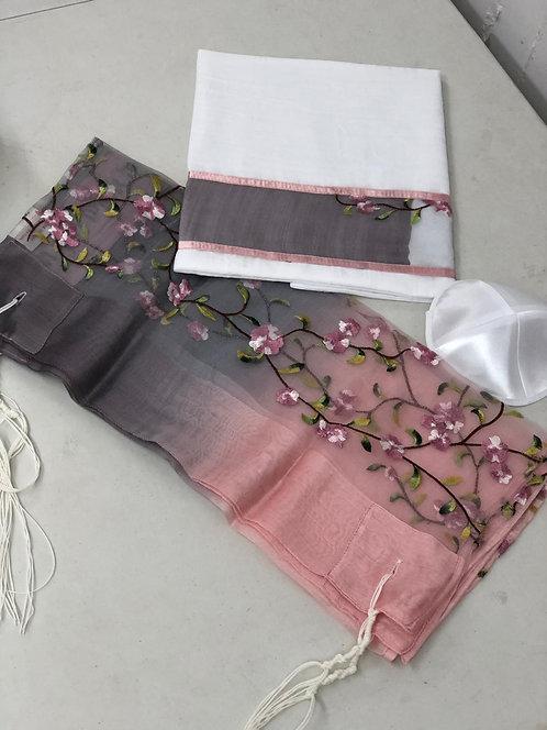 Silk Talit,Kippah, and Tallit Case Gray/purple -0tw118