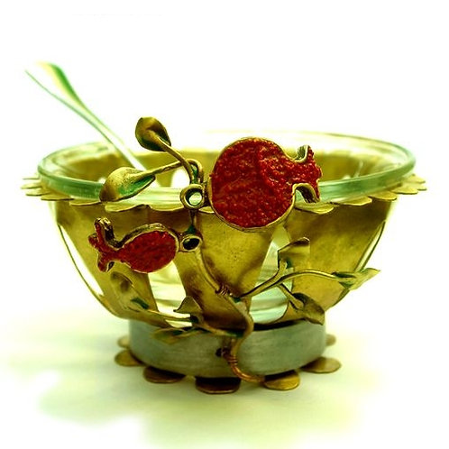 Brass pomegranate honey dish - 771498