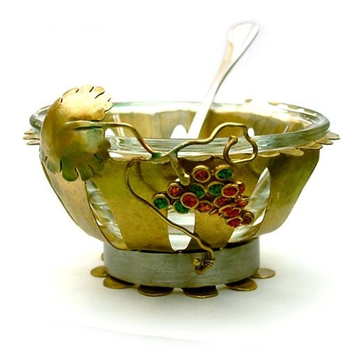 Brass grapes honey dish - 771493