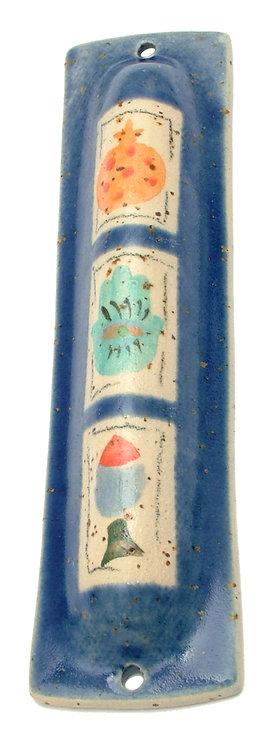 Navy Blue Painted Mezuzah 16116L