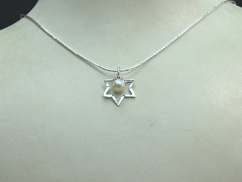 Silver Star of David Necklace - 17B3495