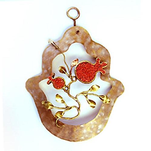 The Seven Species-Pomegranate Brass Hamsa - 77B498