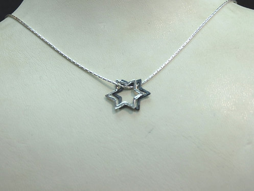 Silver Star of David Necklace - 17B3502