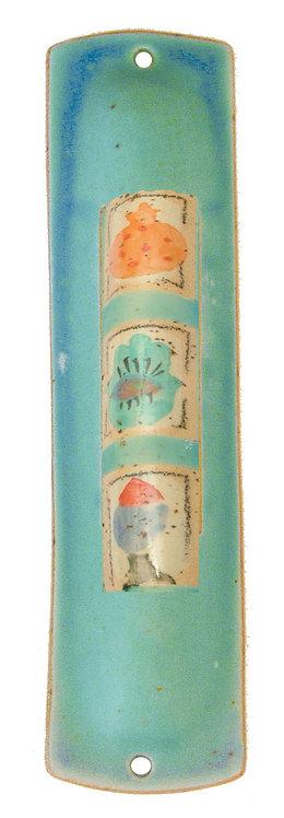 Turquoise Painted Mezuzah 1614L