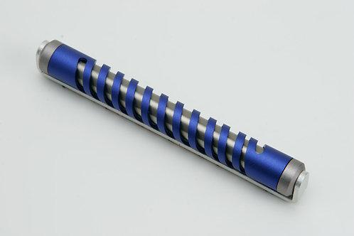 8 CM Klaf Blue&Silver Spiral Mezuzah - 445BL