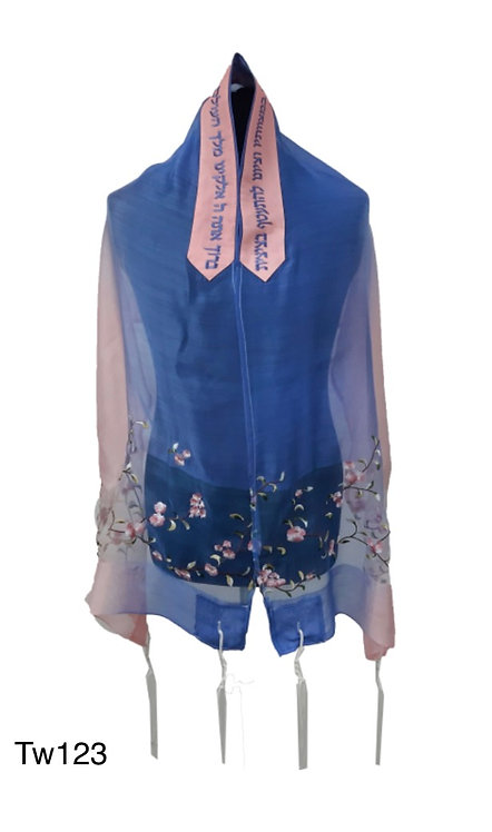 Silk talit set blue and pink-0tw123