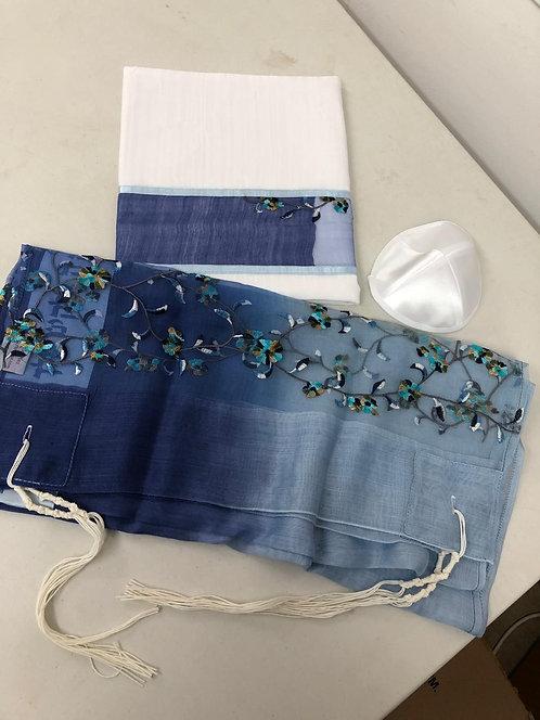 Silk Talit,Kippah, and Tallit Case Blue-0tw121