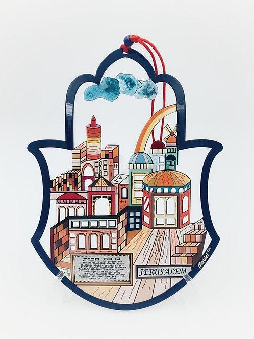Colorful metal,Jerusalem Hamsa,Home Blessing -124024