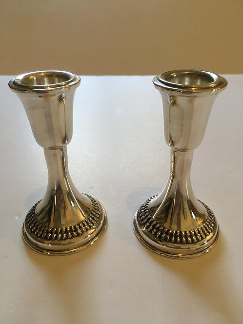 Silver Shabbat candlesticks - 180038  9 s'm