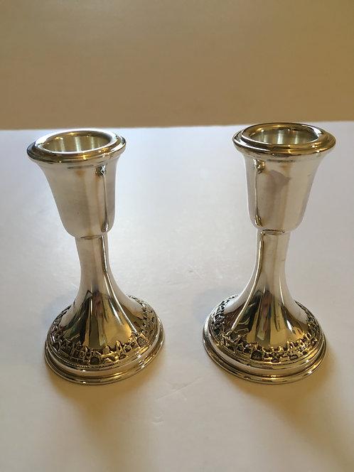 Silver Shabbat candlesticks Jerusalem - 180039  9 s'm