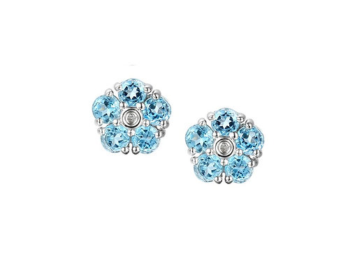9ct White Gold Foxy Topaz Cluster Earrings 6039W/BT