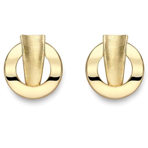 Satin Brushed Gold Stud Earrings