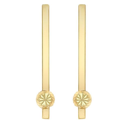 Yellow Gold Bar Drop Earrings