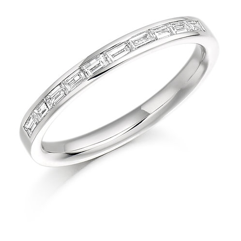 Channel Set Baguette Cut Diamond Half Eternity Ring