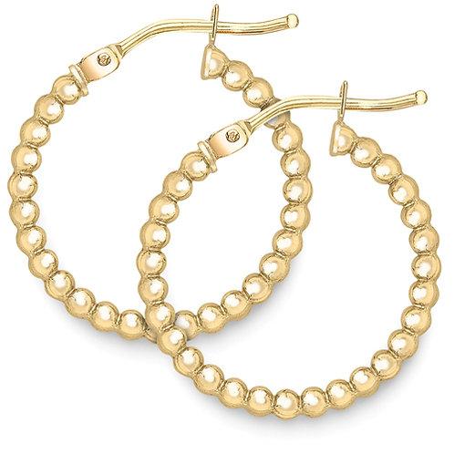 Yellow Gold Beaded Hoop Earrings