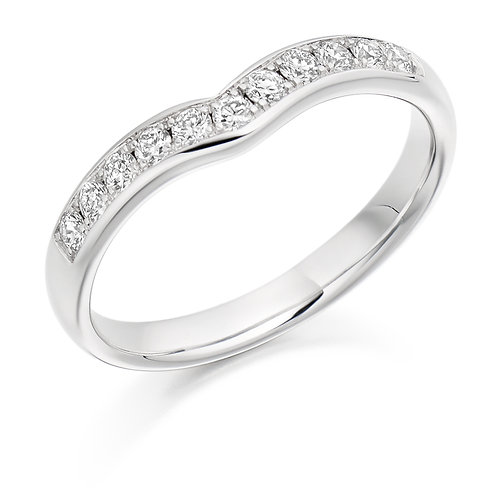 White Gold Curved Round Brilliant Cut Half Eternity Ring