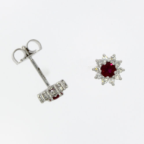 Ruby and Diamond Round Star Stud Earrings