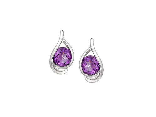 White gold Viola Amethyst Earrings 9125WAM