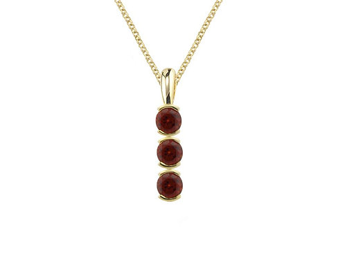 9ct Yellow Gold Poppy Red Garnet Necklace Pendant 6200YGT