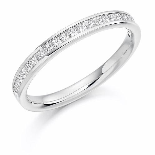 Channel Set Princess Cut Half Eternity Ring