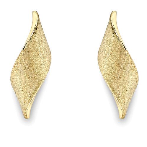 Matt Yellow Gold Stud Earrings
