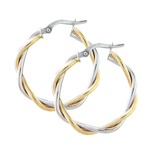 20mm White and Yellow Gold Hoops
