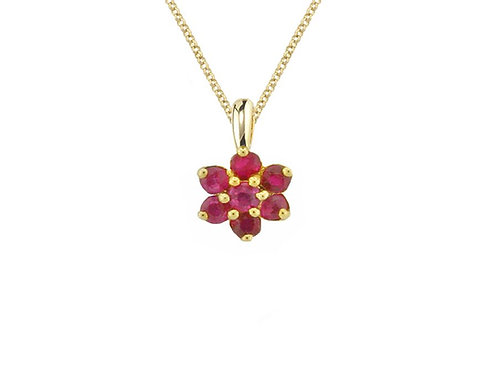Yellow Gold Angelic Red Ruby Cluster Pendant 6394yr