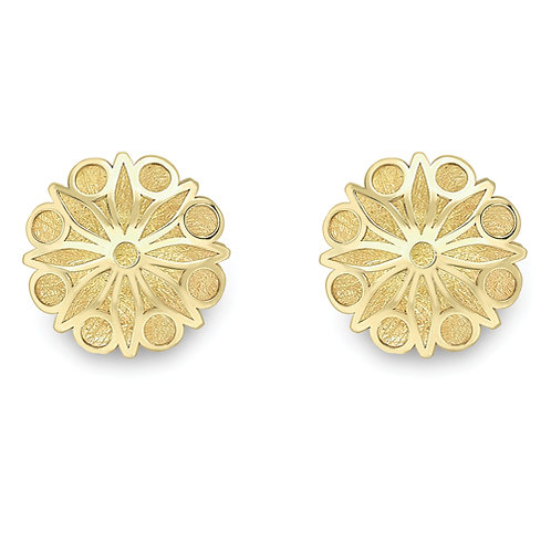 Modern Domed Yellow Gold Studs