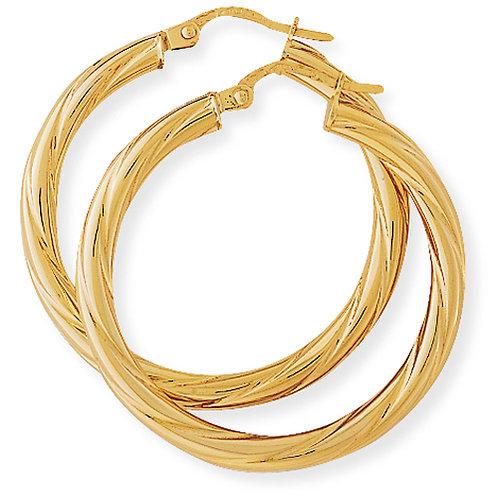 Twisted Light Gold Hoop Earrings
