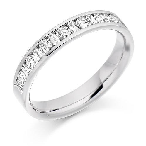 Channel Set Mixed Cut Diamond Half Eternity Ring