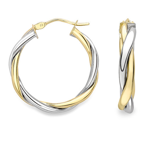 20mm White and Yellow Gold Twist Hoop Earrings