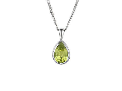 9ct yellow rubover Gold Eternal Peridot Necklace 6395PWPER