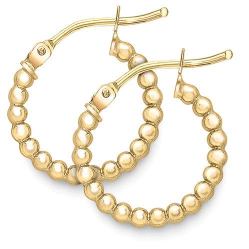 9ct Gold Beaded Hoop Earrings