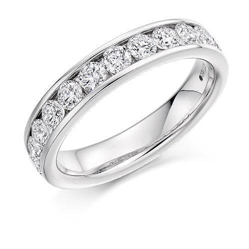 White Gold Channel Set Round Brilliant Cut Half Eternity Ring