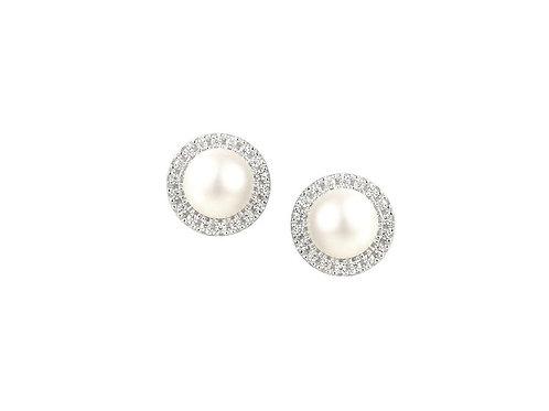 Large Lulu Silver pearl earrings 6073e-pl