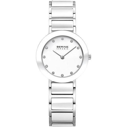 Being White Ceramic Polished Silver Ladies Watch  11429-754