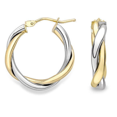 15mm White and Yellow Gold Hoop Earrings