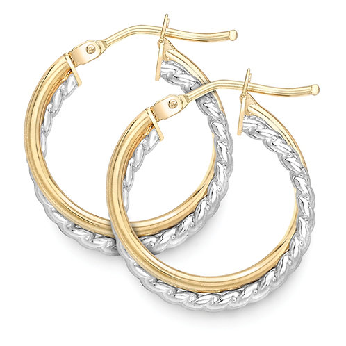Modern Yellow and White Gold Hoops