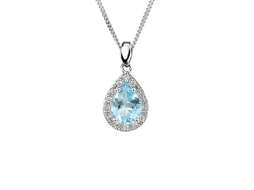 9ct White Gold Peardrop Blue Topaz Necklace 6008PWD/BT