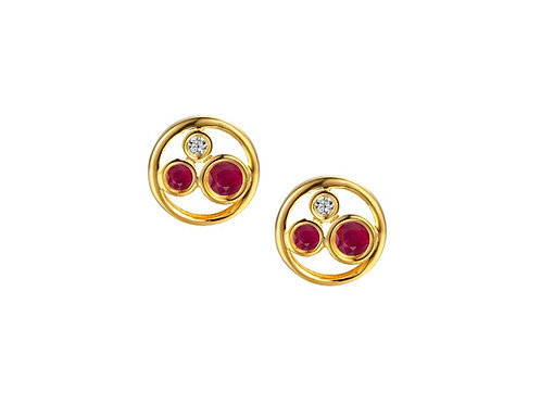 9ct Yellow Gold Ruby Bubblelicious Earrings 9270YD/R