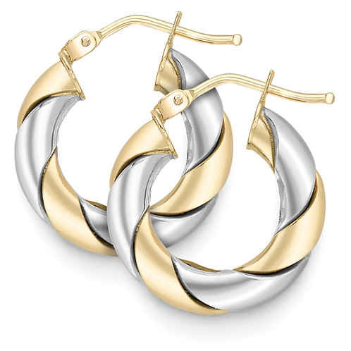 Chunky Yellow and White Gold Hoop Earrings