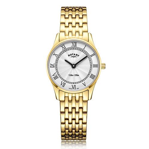 Rotary Ultra Slim Gold Plated Quartz Watch LB08303/01
