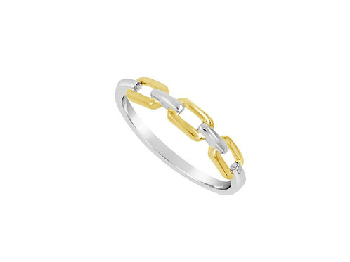 9ct Yellow & White Gold Honey Gold Chain Ring 6953WY