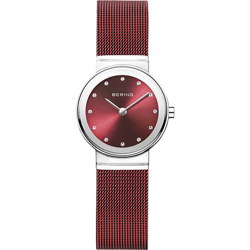 Bering Classic Red Polished Silver Watch 10126-303