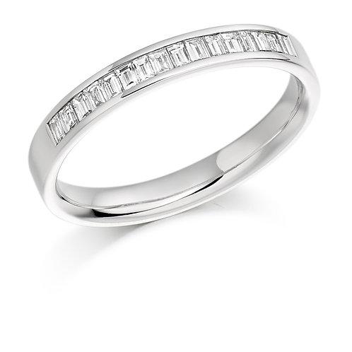 White gold Channel Set Baguette Cut Diamond Half Eternity Ring