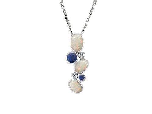White gold sapphire opal pendant 6972WDOP/S