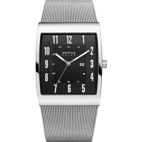 Being Watch Solar Polished Silver Black Dial  16433-002