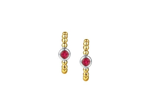 9ct Yellow Gold Summer Red Ruby Earrings 9287YWR